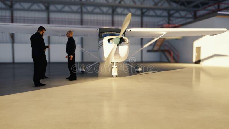 Επιχειρηματίες που μιλούν στο υπόστεγο πριν από το αεροπλάνο πριν από την αναχώρηση Η έννοια του ταξιδιού ή του ταξιδιού τρισδιάσ διανυσματική απεικόνιση