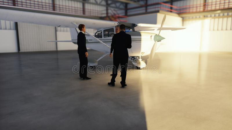 Επιχειρηματίες που μιλούν στο υπόστεγο πριν από το αεροπλάνο πριν από την αναχώρηση Η έννοια του ταξιδιού ή του ταξιδιού τρισδιάσ απεικόνιση αποθεμάτων