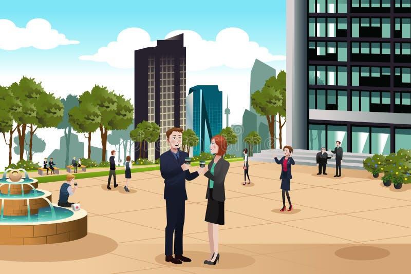 Επιχειρηματίες που μιλούν έξω από το κτίριο γραφείων τους απεικόνιση αποθεμάτων