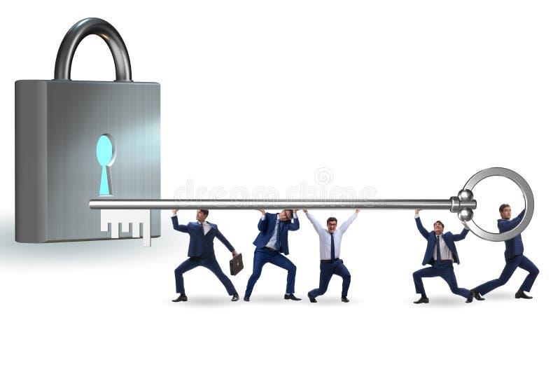 Επιχειρηματίες που ξεκλειδώνουν τη νέα ευκαιρία με το κλειδί στοκ εικόνα με δικαίωμα ελεύθερης χρήσης