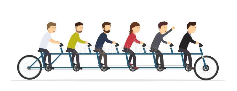 Επιχειρηματίες που οδηγούν σε ένα ποδήλατο πέντε-καθισμάτων διανυσματική απεικόνιση