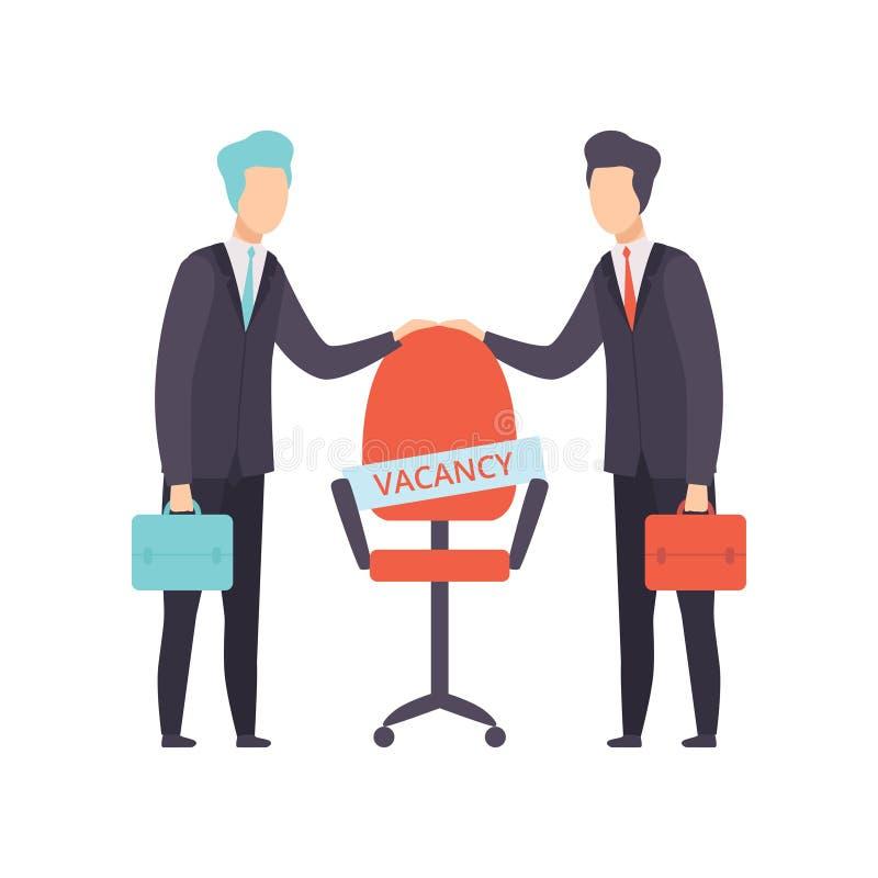 Επιχειρηματίες που παλεύουν για μια καρέκλα, επιχειρησιακός ανταγωνισμός, αναζητητές εργασίας, διανυσματική απεικόνιση έννοιας αν ελεύθερη απεικόνιση δικαιώματος