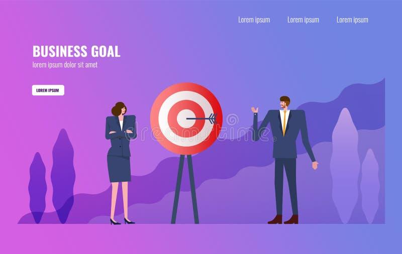 Επιχειρηματίες που πλανίζουν για τον επιχειρησιακό στόχο και τον επιχειρησιακό στόχο διανυσματική απεικόνιση