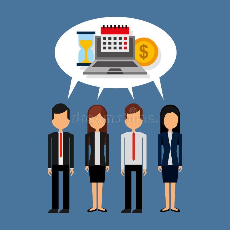Επιχειρηματίες που στέκονται με τη λεκτική φυσαλίδα και το ημερολόγιο ρολογιών χρημάτων lap-top ελεύθερη απεικόνιση δικαιώματος