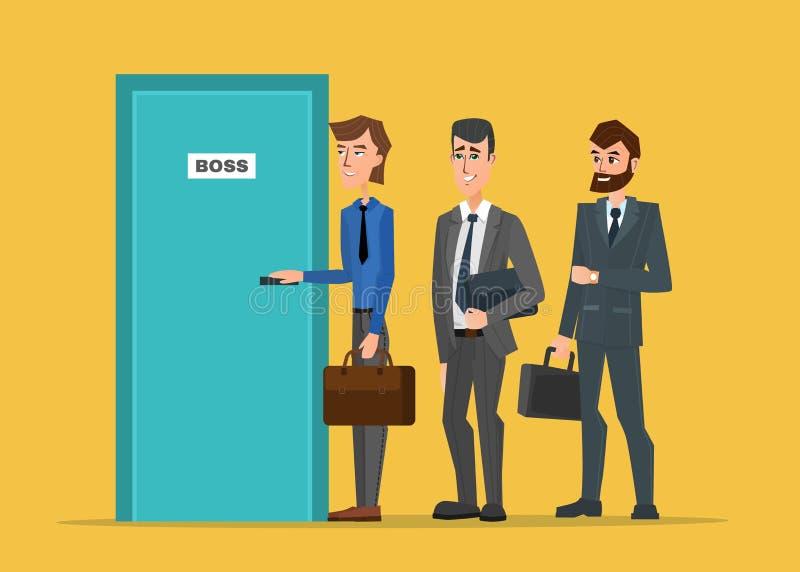 Επιχειρηματίες που στέκονται σε μια γραμμή στην πόρτα του προϊσταμένου διανυσματική απεικόνιση