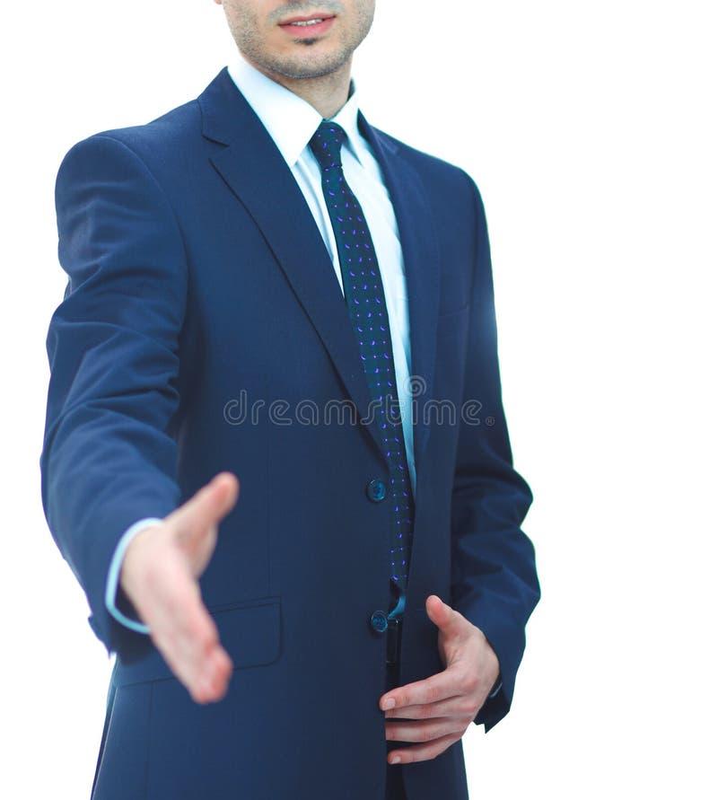 Επιχειρηματίες που τινάζουν τα χέρια, που απομονώνονται στο λευκό στοκ φωτογραφία