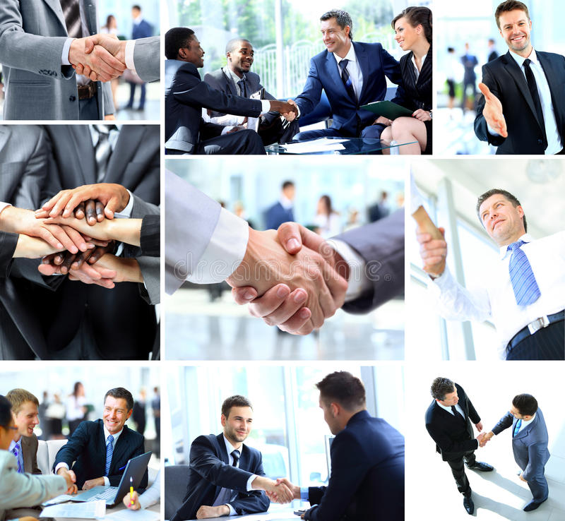 Επιχειρηματίες που τινάζουν τα χέρια στοκ φωτογραφίες