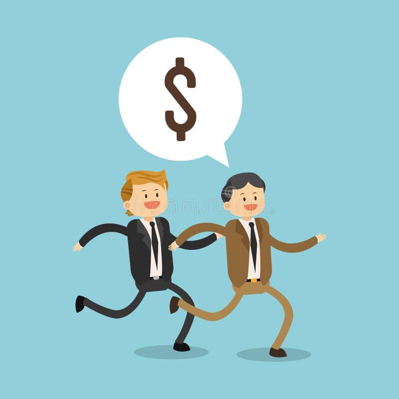 Επιχειρηματίες που τρέχουν για τα χρήματα διανυσματική απεικόνιση