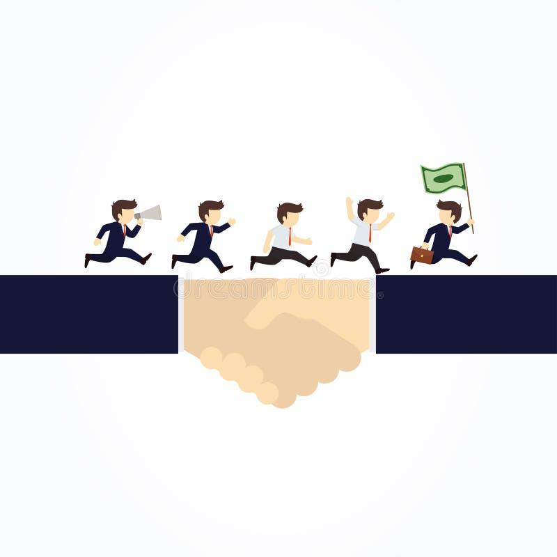 Επιχειρηματίες που τρέχουν μετά από τα χρήματα σε μια χειραψία διανυσματική απεικόνιση