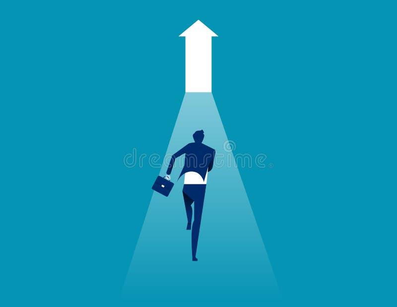 Επιχειρηματίες που τρέχουν προς για υπαίθριο r Επίπεδος χαρακτήρας, ύφος κινούμενων σχεδίων, τρύπα απεικόνιση αποθεμάτων