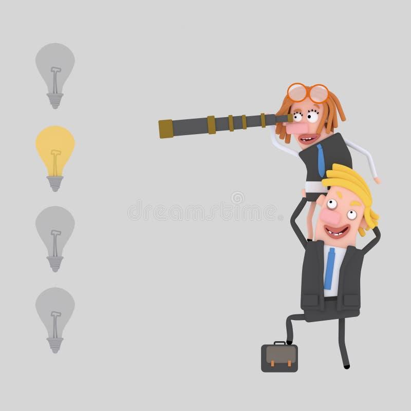 Επιχειρηματίες που ψάχνουν μια καλή ιδέα τρισδιάστατος διανυσματική απεικόνιση