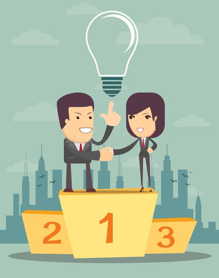 Επιχειρηματίες σε ένα βάθρο απεικόνιση αποθεμάτων