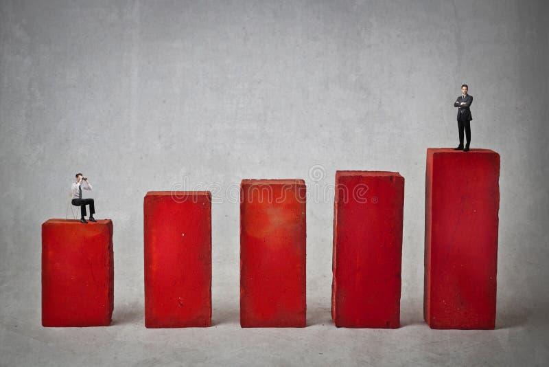 Επιχειρηματίες σε ένα κόκκινο γραφικό στοκ εικόνες