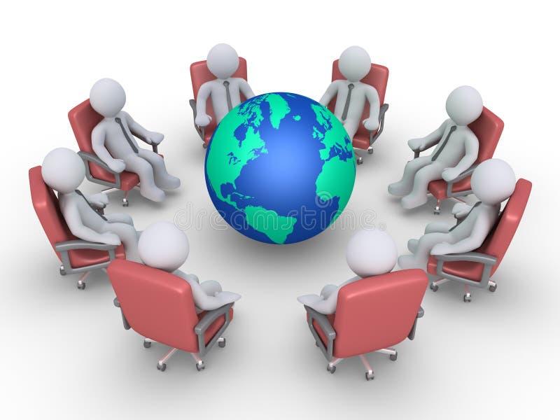 Επιχειρηματίες σε μια συνεδρίαση γύρω από τη γη διανυσματική απεικόνιση