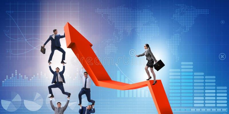 Επιχειρηματίες στην επιχειρησιακή έννοια οικονομικής αποκατάστασης στοκ εικόνες