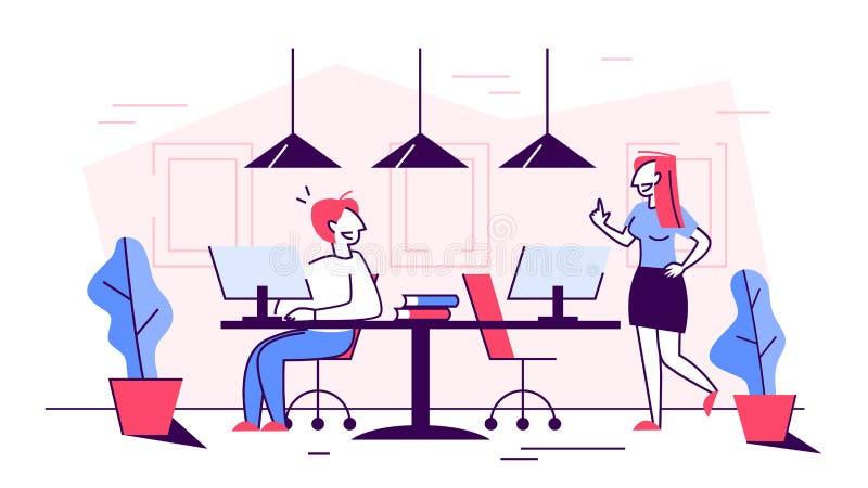 Επιχειρηματίες στην εργασία γραφείων στην ομάδα Ιδέα της επικοινωνίας διανυσματική απεικόνιση