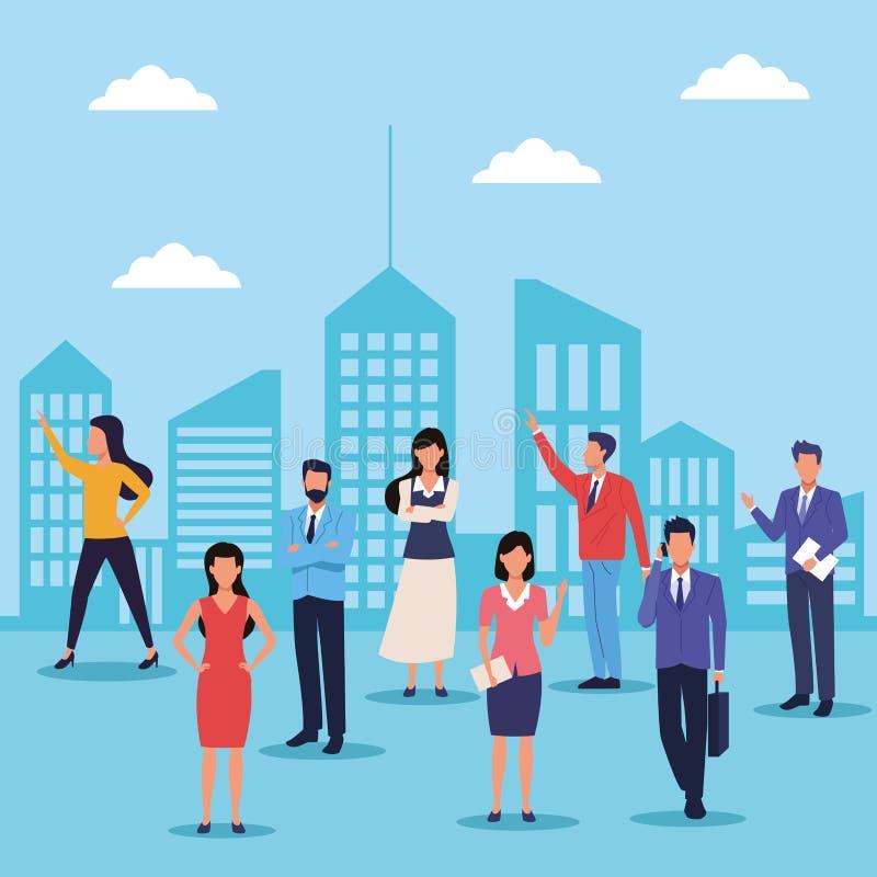 Επιχειρηματίες στην πόλη απεικόνιση αποθεμάτων