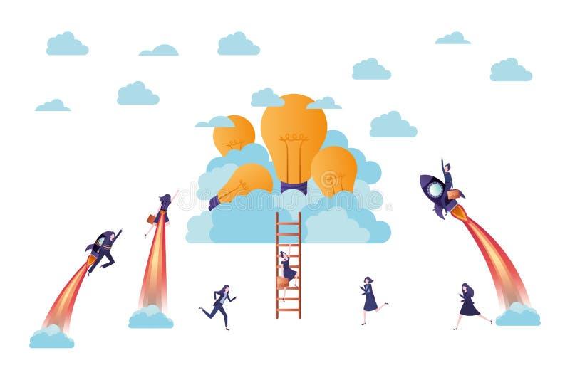 Επιχειρηματίες στον πύραυλο και τις λάμπες φωτός απεικόνιση αποθεμάτων