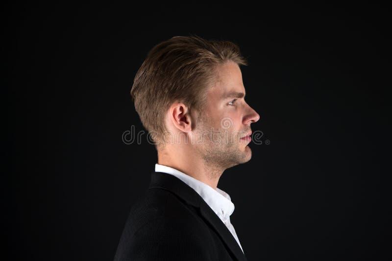 Επιχειρηματίες hairstyle Καλλωπισμένο τρίχα πρόσωπο επιχειρηματιών Μοντέρνη και σύγχρονη εμφάνιση Καλά καλλωπισμένος φαλλοκράτης  στοκ εικόνα