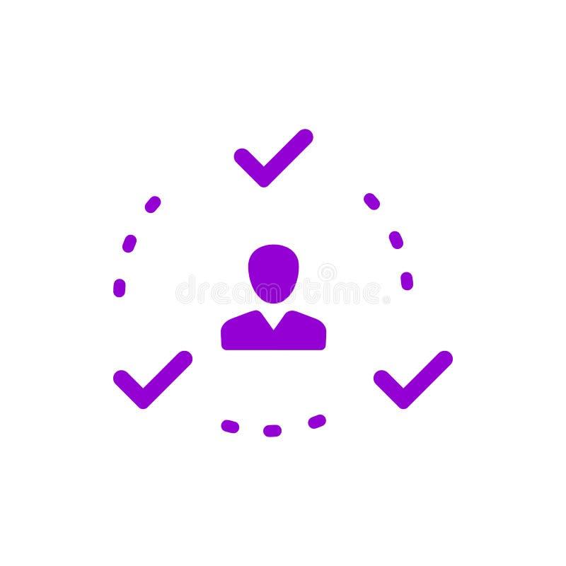 Επιχειρηματική απόφαση, επιχειρηματικό σχέδιο, απόφαση - παραγωγή, διαχείριση, σχέδιο, προγραμματισμός, ιώδες εικονίδιο χρώματος  διανυσματική απεικόνιση