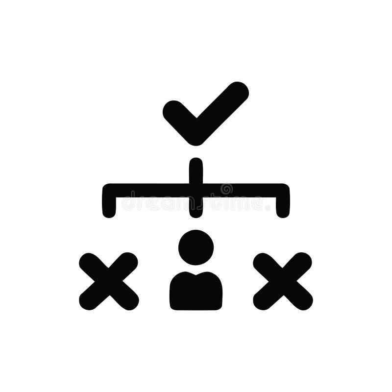 Επιχειρηματική απόφαση, επιχειρηματικό σχέδιο, απόφαση - παραγωγή, διαχείριση, σχέδιο, προγραμματισμός, μαύρο εικονίδιο χρώματος  διανυσματική απεικόνιση