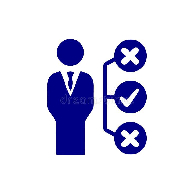 Επιχειρηματική απόφαση, επιχειρηματικό σχέδιο, απόφαση - παραγωγή, διαχείριση, σχέδιο, προγραμματισμός, μπλε εικονίδιο χρώματος σ απεικόνιση αποθεμάτων