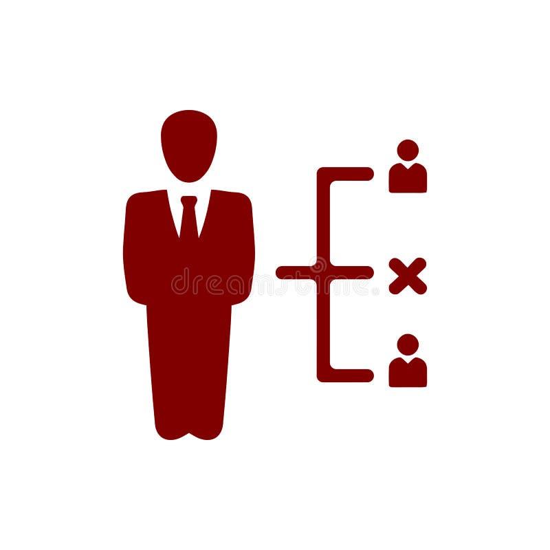 Επιχειρηματική απόφαση, επιχειρηματικό σχέδιο, απόφαση - παραγωγή, διαχείριση, σχέδιο, προγραμματισμός, καφέ εικονίδιο χρώματος σ διανυσματική απεικόνιση