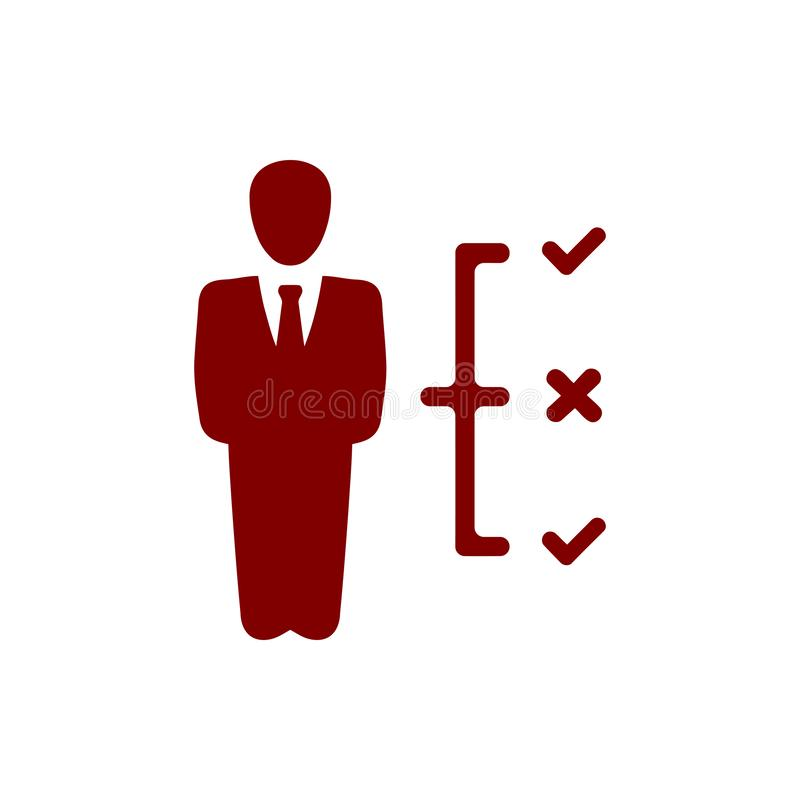 Επιχειρηματική απόφαση, επιχειρηματικό σχέδιο, απόφαση - παραγωγή, διαχείριση, σχέδιο, προγραμματισμός, καφέ εικονίδιο χρώματος σ απεικόνιση αποθεμάτων