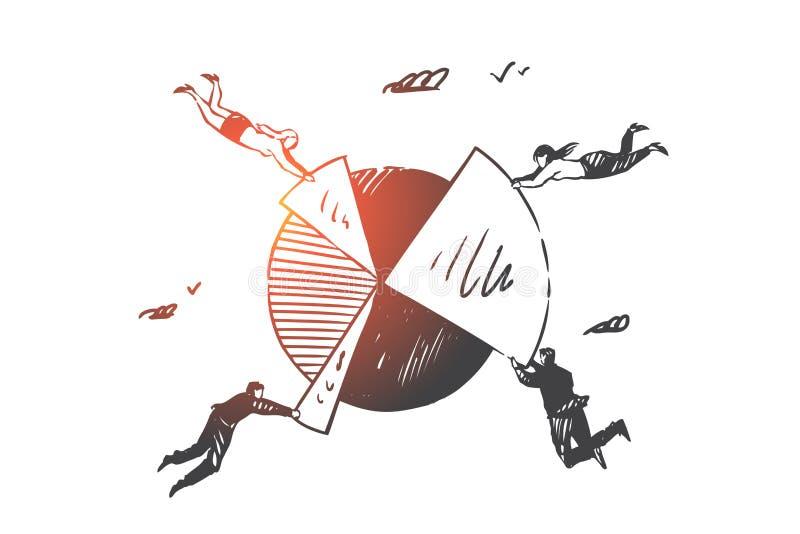 Επιχειρηματική κατασκοπεία, ομαδική εργασία, coworking σκίτσο έννοιας Συρμένη χέρι απομονωμένη διανυσματική απεικόνιση απεικόνιση αποθεμάτων
