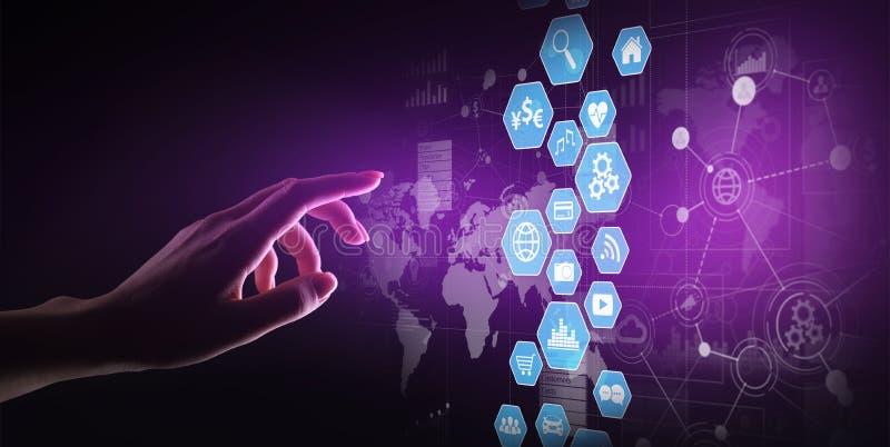 Επιχειρηματική κατασκοπεία, ταμπλό ανάλυσης στοιχείων με τα διαγράμματα εικονιδίων και διάγραμμα στην εικονική οθόνη διανυσματική απεικόνιση
