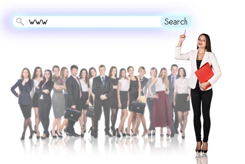 επιχειρηματική μονάδα ανασκόπησης μεγάλη πέρα από το λευκό ανθρώπων στοκ εικόνα