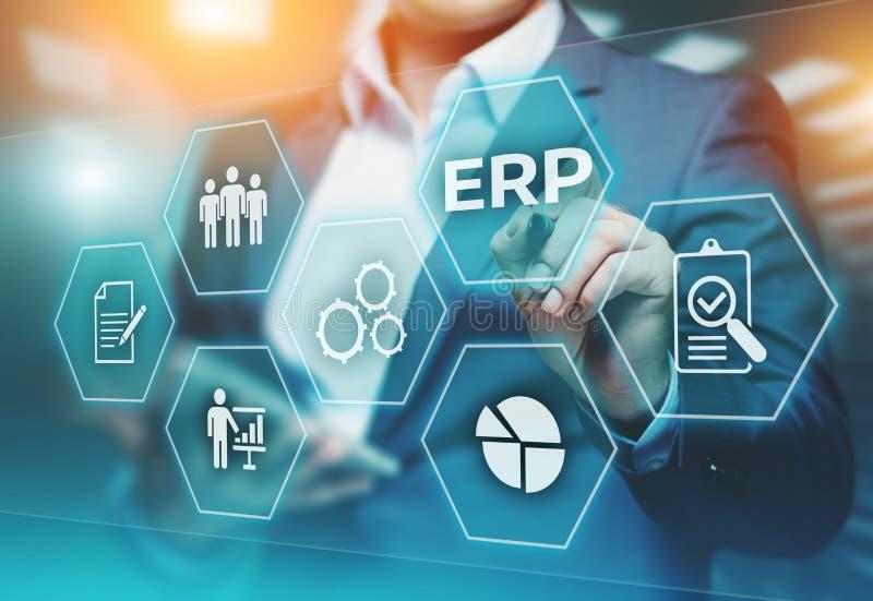 Επιχειρηματικός πόρος που προγραμματίζει την εταιρική έννοια τεχνολογίας Διαδικτύου διοικητικών επιχειρήσεων επιχείρησης cErp στοκ εικόνες