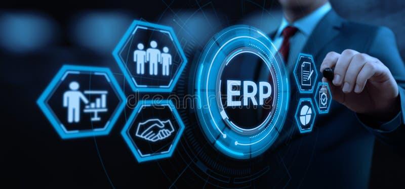 Επιχειρηματικός πόρος που προγραμματίζει την εταιρική έννοια τεχνολογίας Διαδικτύου διοικητικών επιχειρήσεων επιχείρησης cErp στοκ εικόνα