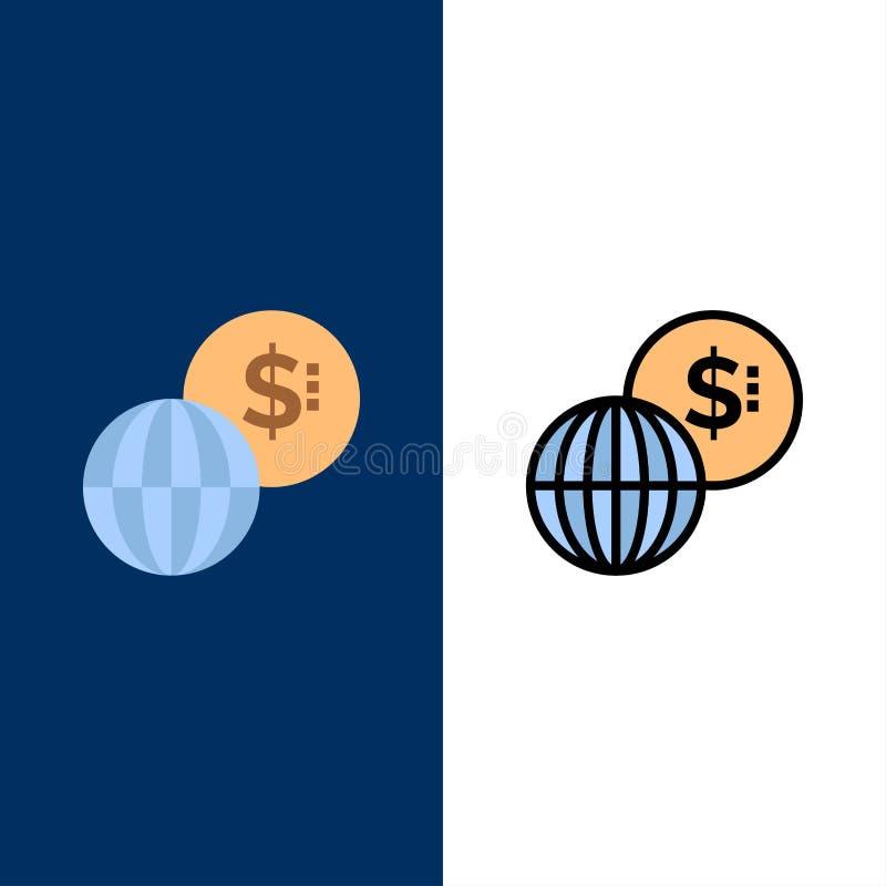 Επιχειρηματικό πεδίο, παγκόσμιο, αγορές, σύγχρονα εικονίδια Επίπεδος και γραμμή γέμισε το καθορισμένο διανυσματικό μπλε υπόβαθρο  διανυσματική απεικόνιση
