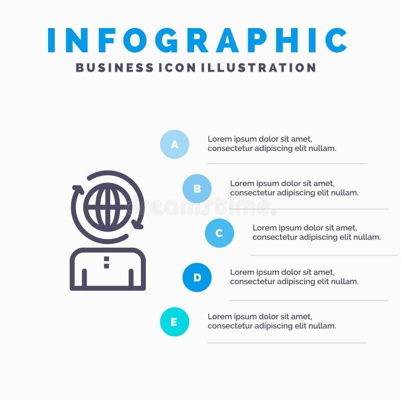 Επιχειρηματικό πεδίο, παγκόσμιο, διαχείριση, σύγχρονο εικονίδιο γραμμών με το υπόβαθρο infographics παρουσίασης 5 βημάτων ελεύθερη απεικόνιση δικαιώματος