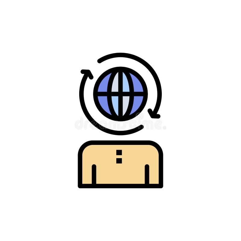 Επιχειρηματικό πεδίο, παγκόσμιο, διαχείριση, σύγχρονο επίπεδο εικονίδιο χρώματος Διανυσματικό πρότυπο εμβλημάτων εικονιδίων διανυσματική απεικόνιση