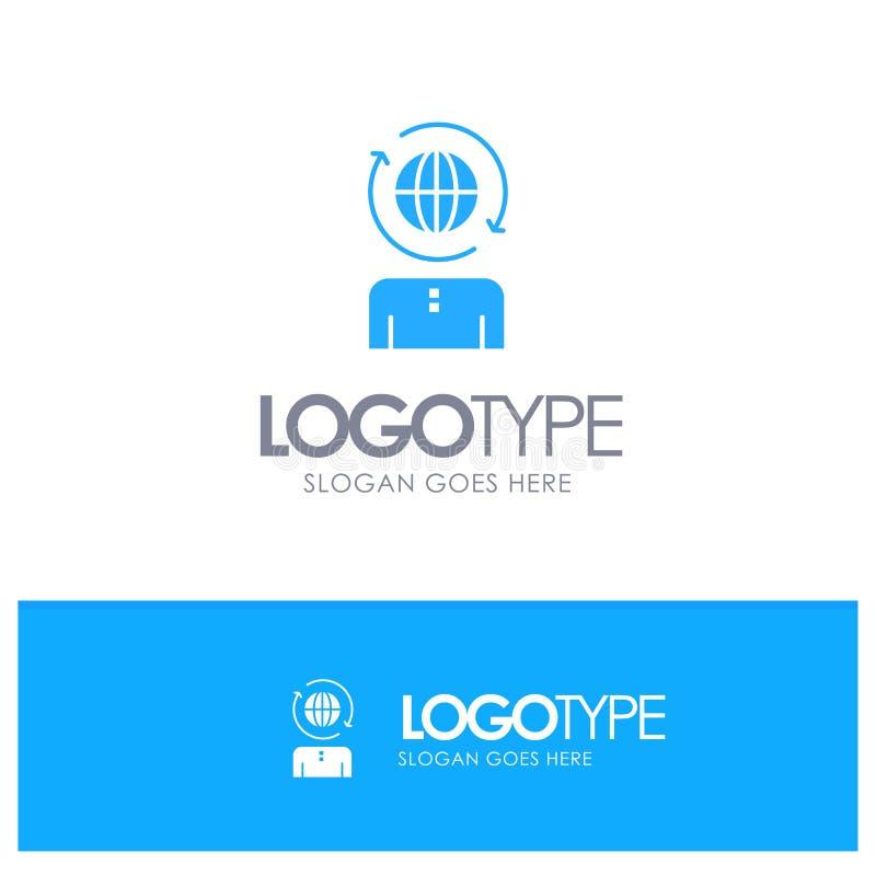 Επιχειρηματικό πεδίο, παγκόσμιο, διαχείριση, σύγχρονο μπλε στερεό λογότυπο με τη θέση για το tagline ελεύθερη απεικόνιση δικαιώματος