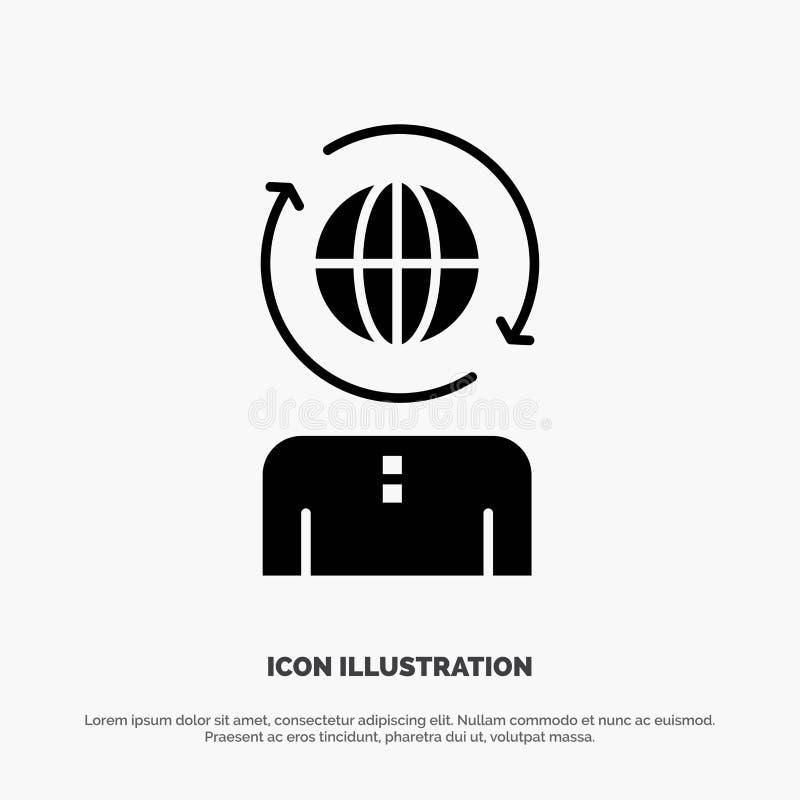 Επιχειρηματικό πεδίο, παγκόσμιο, διαχείριση, σύγχρονο στερεό διάνυσμα εικονιδίων Glyph ελεύθερη απεικόνιση δικαιώματος