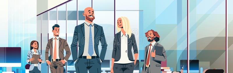 Επιχειρηματιών αρχηγών ομάδας ηγεσίας έννοιας επιχειρηματιών εσωτερικός άνδρα-γυναίκας χαρακτήρας κινουμένων σχεδίων γραφείων γυν απεικόνιση αποθεμάτων