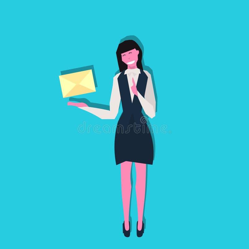 Επιχειρηματιών εκμετάλλευσης φακέλων εγγράφου επιστολών επικοινωνίας έννοιας θηλυκό μπλε μήκους χαρακτήρα κινουμένων σχεδίων επίπ διανυσματική απεικόνιση