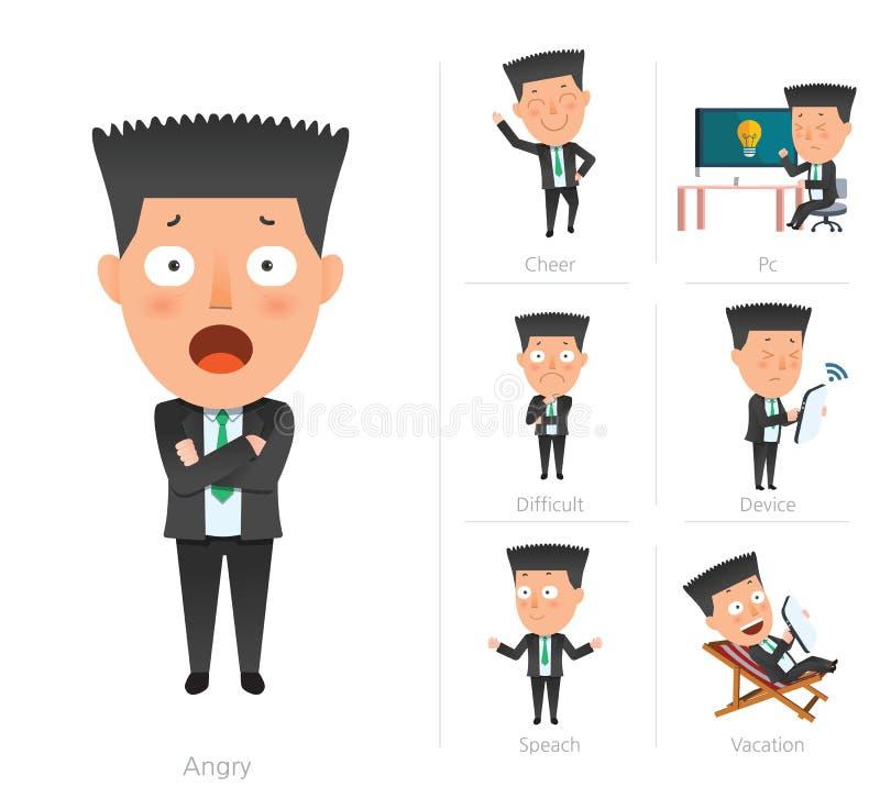Επιχειρηματιών εταιρικός 7set-υπάλληλος σχεδίου ζωής επίπεδος απεικόνιση αποθεμάτων