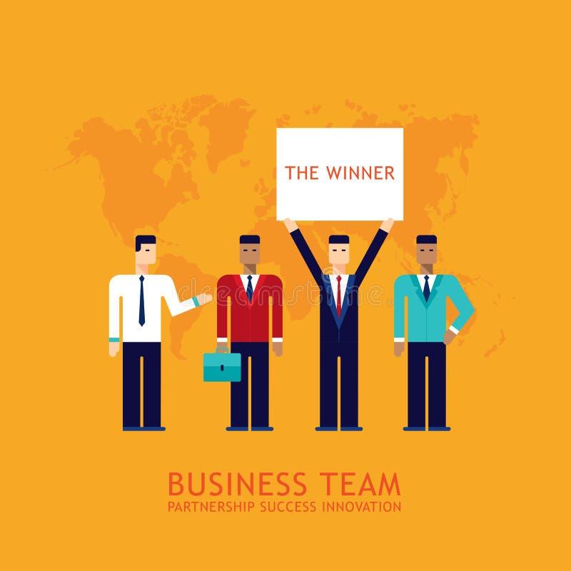 Επιχειρηματιών συνεργασίας ομαδικής εργασίας επίπεδο σχέδιο έννοιας επιχειρησιακών ομάδων συνεργασίας επιτυχές διανυσματική απεικόνιση