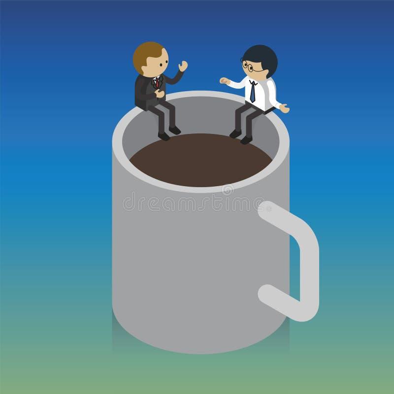 Επιχειρησιακά άτομα που συναντούν τον καφέ στο φλυτζάνι διανυσματική απεικόνιση