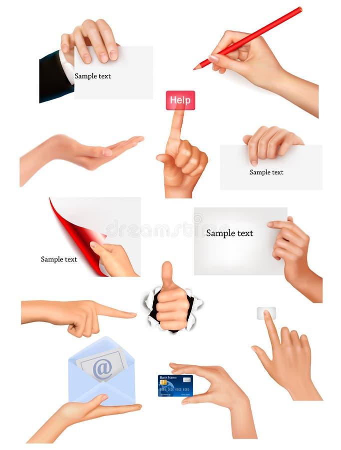 επιχειρησιακά διαφορετικά χέρια που κρατούν τα αντικείμενα τεθειμένα απεικόνιση αποθεμάτων