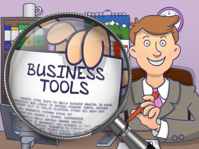 Επιχειρησιακά εργαλεία μέσω Magnifier Ύφος Doodle απεικόνιση αποθεμάτων