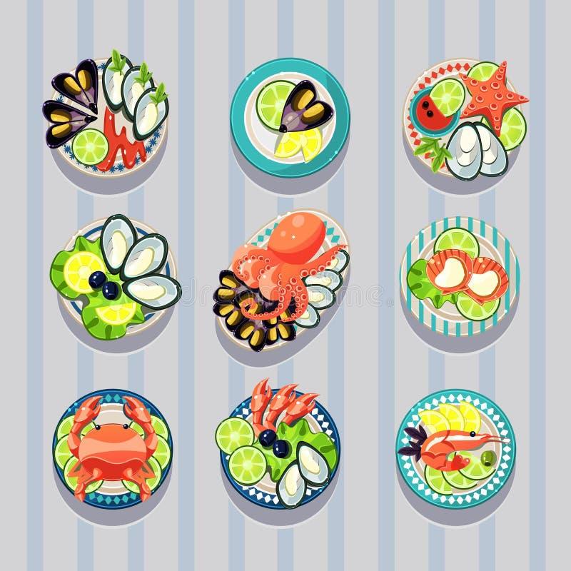 Επιχειρησιακά θαλασσινά τροφίμων στοιχείων Infographic απεικόνιση αποθεμάτων