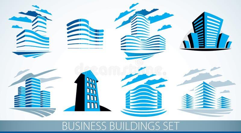 Επιχειρησιακά κτήρια καθορισμένα, σύγχρονη συλλογή απεικονίσεων αρχιτεκτονικής διανυσματική Κεντρικά σχέδια γραφείων ακίνητων περ διανυσματική απεικόνιση