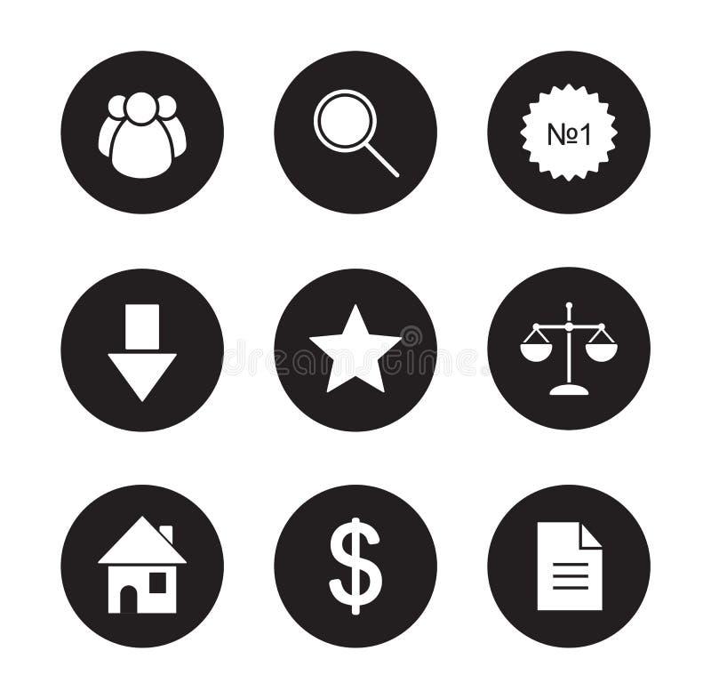 Επιχειρησιακά μαύρα εικονίδια καθορισμένα ελεύθερη απεικόνιση δικαιώματος