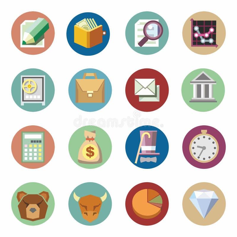 Επιχειρησιακά οικονομικά εικονίδια καθορισμένα Επίπεδο σχέδιο ελεύθερη απεικόνιση δικαιώματος