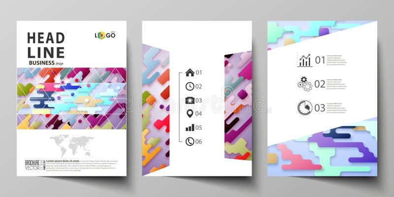 Επιχειρησιακά πρότυπα για το φυλλάδιο, ιπτάμενο, έκθεση Πρότυπο σχεδίου κάλυψης, αφηρημένο διανυσματικό σχεδιάγραμμα A4 στο μέγεθ διανυσματική απεικόνιση
